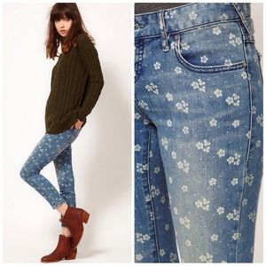 Free People Ditsy Floral Ankle Cropped Jeans Denim